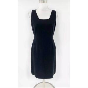 Ann Taylor Dress Black Sheath Square Neck Career